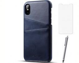 Kožený kryt na kreditnú kartu pre iPhone X so stylusom a ochranným sklom, modrá farba