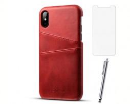 Kryt na kreditnú alebo debetnú kartu pre iPhone X v červenej farbe