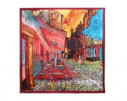 Luxusná šatka z umelého hodvábu, Van Gogh - Terrace At Night, Červená farba (2)