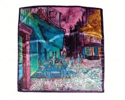 Luxusná šatka z umelého hodvábu, Van Gogh - Terrace At Night, Fialová farba