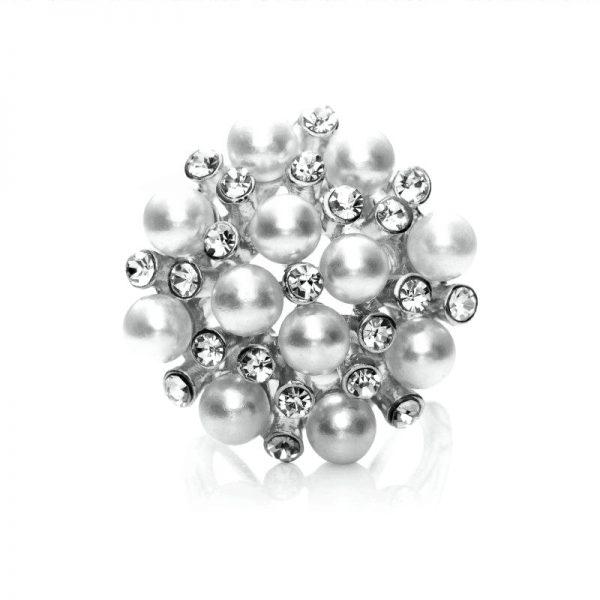 Luxusná spona Kytica periel ponúka zhluky perál, ktoré sa striedajú so žiarivými kamienkami a tvoria dokopy kyticu (3)