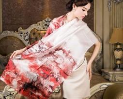 Luxusný hodvábny šál - Červené mesto - Ponúkame vám hodvábne šále