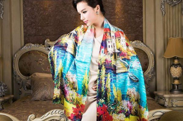 Luxusný hodvábny šál - Neďaleký kaštieľ - Ponúkame vám hodvábne šále