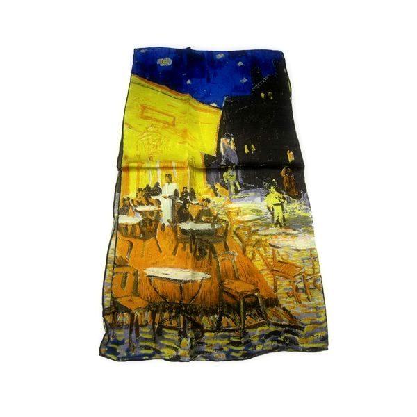 Luxusný-hodvábny-šál-Vincent-Van-Gogh-Nočná-terasa-kaviarne