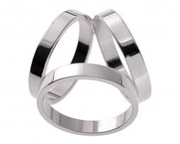 Luxusný troj-prstenec v striebornej farbe (1)