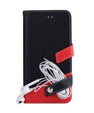 Luxusné-kožené-Flip-púzdro-pre-iPhone-X-červeno-čierna-farba-.-2