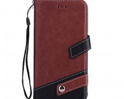 Luxusné-kožené-Flip-púzdro-pre-iPhone-X-hnedo-čierna-farba-