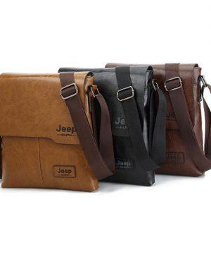 Pánska kvalitná kožená taška JEEP cez plece vo farbách. Dizajnová a kvalitná taška pre mladých a sebavedomých ľudí (4)