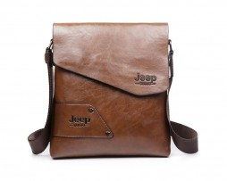 Pánska kvalitná kožená taška JEEP v khaki farbe. Dizajnová a kvalitná taška pre mladých a sebavedomých ľudí, ktorí žijú naplno (3)