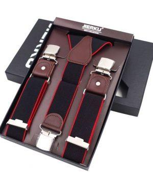 Pánske kožené traky s elastickým pásom, 3 klipy, čierna farba s červeným lemovaním. Traky sú jedinečným doplnkom pre každého muža