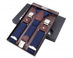 Pánske kožené traky s elastickým pásom, 3 klipy, modrá farba s bielymi bodkami