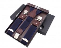 Pánske kožené traky s elastickým pásom, 3 klipy, modrá farba s modrým lemovaním
