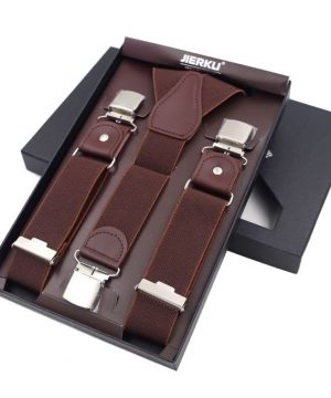 Pánske kožené traky s elastickým pásom, 3 klipy. Traky sú jedinečným doplnkom pre každého muža