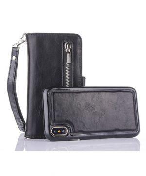 Peňaženka-a-magnetický-obal-na-iPhone-X-z-kože-v-čiernej-farbe.-Púzdro-je-vyrobené-z-kože.-Púzdro-poskytuje-dokonalé-zapadnutie-iPhonu-X-4