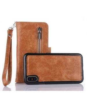 Peňaženka-a-magnetický-obal-na-iPhone-X-z-kože-v-hnedej-farbe.-Púzdro-je-vyrobené-z-kože.-Púzdro-poskytuje-dokonalé-zapadnutie-iPhonu-X-4