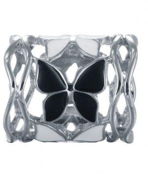 Prstencová ozdoba na šatky s motýľmi v striebornej farbe