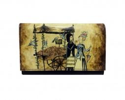 Ručne maľovaná kožená peňaženka 8542 s motívom Milencov