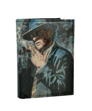 Ručne maľovaná peňaženka 8560 s motívom Muž s cigaretou