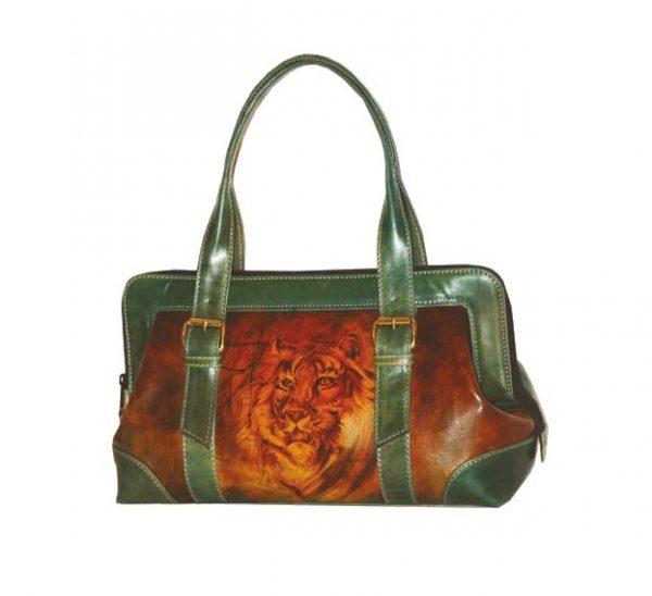 Ručne-maľovaná-kabelka-8220-s-motívom-zeleného-tigra