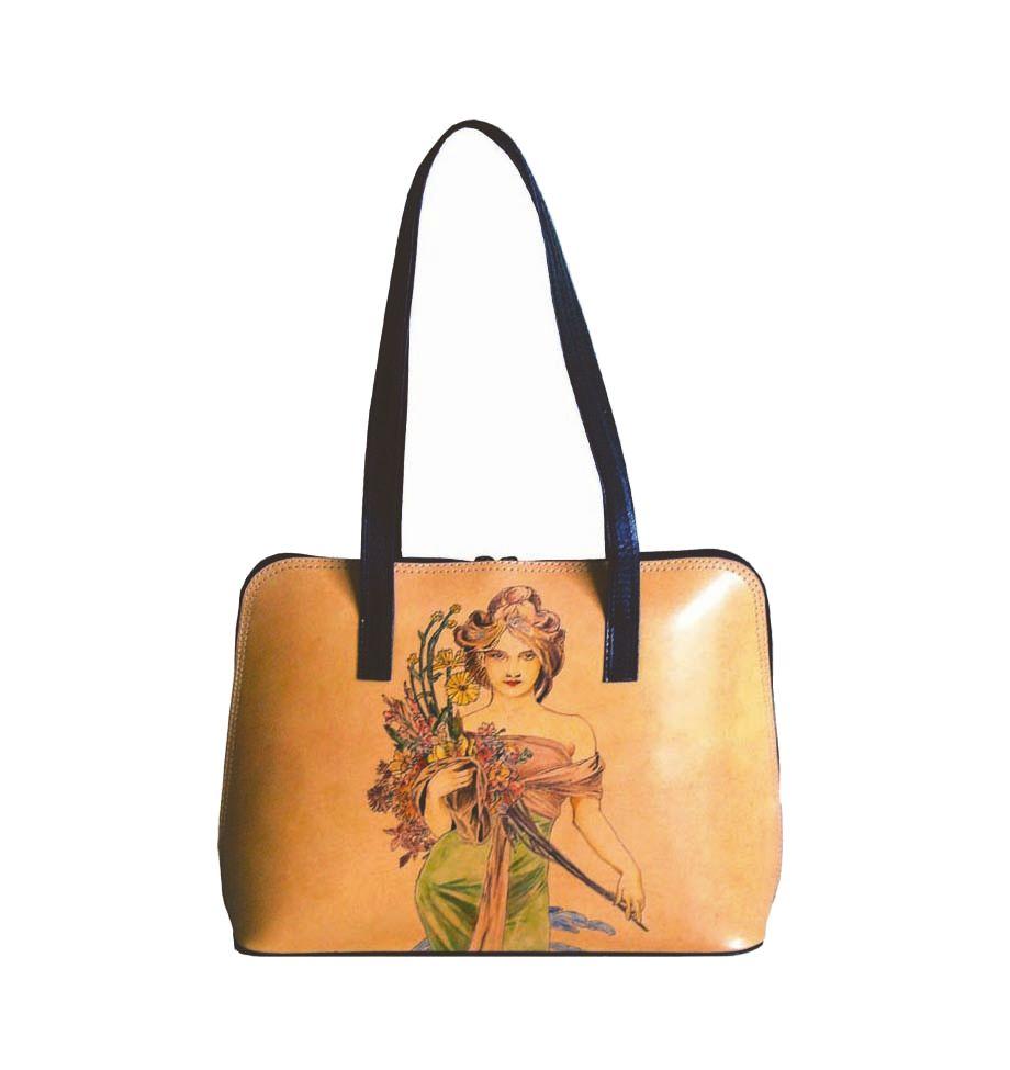 Ručne maľovaná kabelka 8574 inšpirovaná motívom Alfons Mucha ... 702d276db34