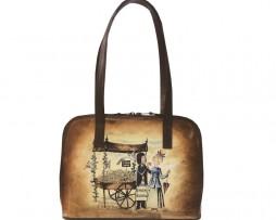 Ručne-maľovaná-kabelka-8574-s-motívom-Milenci-na-lavičke-hnedá