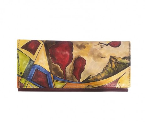 Ručne maľovaná peňaženka 7757 s motívom Abstrakt