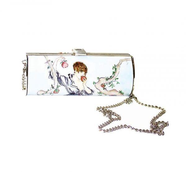 1f12018f1d Ručne maľovaná spoločenská kabelka 7111 s motívom Dievča s jablkom ...