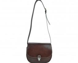Rustikálna kožená kabelka, ručne tieňovaná, hnedá farba (1)