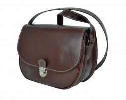 Rustikálna kožená kabelka, ručne tieňovaná, hnedá farba (3)