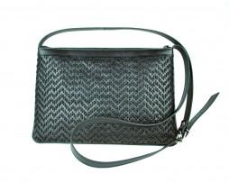 Kožená kabelka ručne vyšívaná v čiernej farbe (1)