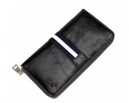 Kožená unisex peňaženka so štýlovým dizajnom v čiernej farbe