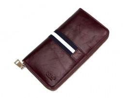 Kožená unisex peňaženka so štýlovým dizajnom v tmavo hnedej farbe