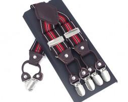 Kožené pánske traky s elastickým pásom s červenými pásmi