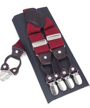Kožené pánske traky s elastickým pásom s červenými pruhmi