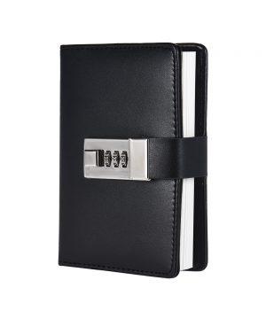 Kožený zápisník s otváraním na heslový zámok v čiernej farbe (2)
