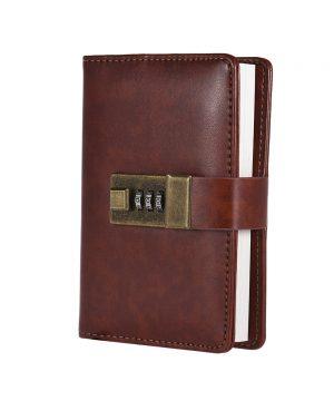 Kožený zápisník s otváraním na heslový zámok v hnedej farbe (3)