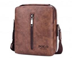 Kvalitná kožená taška cez plece POLO v hnedej farbe (5)