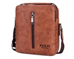 Kvalitná kožená taška cez plece POLO v khaki farbe (4)