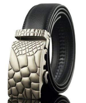 Moderný kožený pánsky opasok s automatickou prackou, vzor hadina