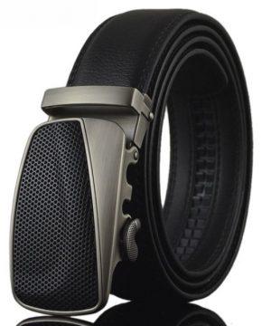 Moderný kožený pánsky opasok s automatickou prackou, vzor retro, čierny