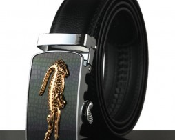 Moderný kožený pánsky opasok s automatickou prackou, zlatý krokodíl