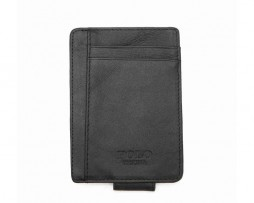 Ochranné kožené púzdro na peniaze, karty a vizitky POLO v čiernej farbe