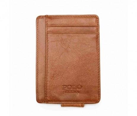 Ochranné kožené púzdro na peniaze, karty a vizitky POLO v khaki farbe