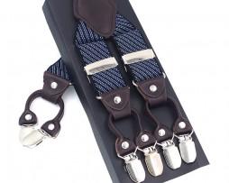 Pánske kožené traky v šedom prevedení s modrým pruhovaným vzorom