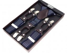 Pánske kožené traky v luxusom štýle s modrým pruhovaným vzorom