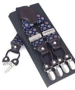 Pánske kožené traky v modrom prevedení s elastickým pásom