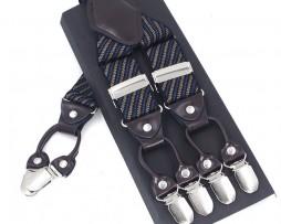 Pánske kožené traky v modrom pruhovanom prevedení s elastickým pásom