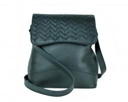 Ručne vyšívaná kožená kabelka v čiernej farbe (2)