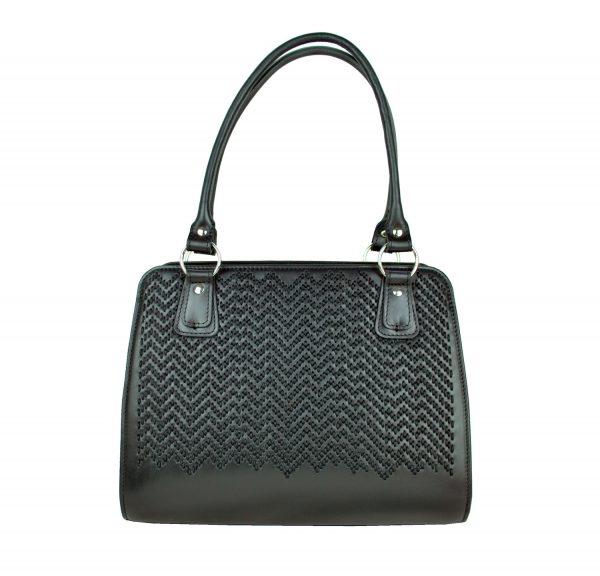 Ručne vyšívaná pracovná kabelka z pravej kože v čiernej farbe (4)