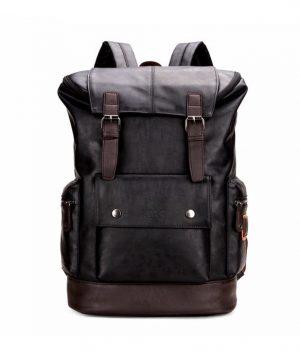 Unisex vysokokapacitný ruksak z kože v čiernej farbe (3)